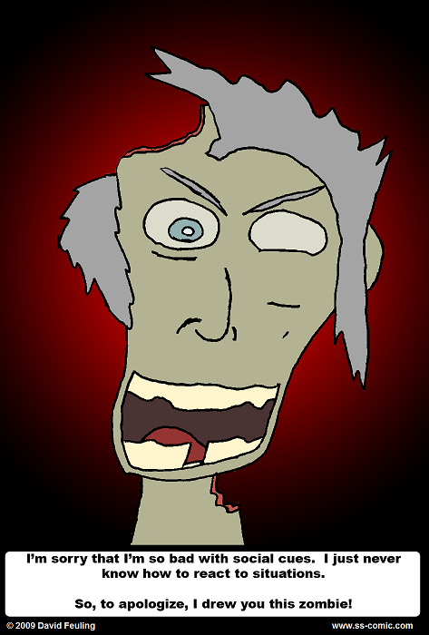 Actually, I just felt like drawing a zombie.